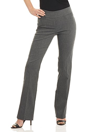 Rekucci Women's Ease in to Comfort Boot Cut Pant (2,Charcoal) (Stretch Pant Wool Slim Womens)