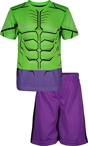 Marvel Avengers Hulk Toddler Boys' Athletic T-Shirt & Mesh Shorts Set, Green/Purple (2T)