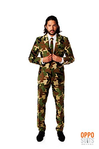 [OppoSuits Men's Commando Party Costume Suit, Green/Black/Brown, 44] (High Quality Adult Costumes)
