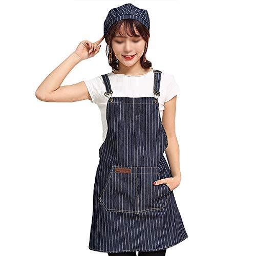 (Adela Women Denim Jean Kitchen Apron Adjustable Durable Aprons with Pockets (Blue Stripe) )