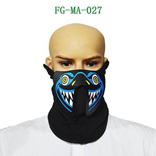 callm Halloween Mask,Halloween Sound Reactive Half Face LED
