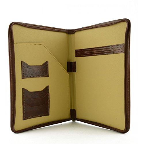 Portadocumenti In Pelle Vera Per Blocco A5 Colore Marrone - Pelletteria Toscana Made In Italy - Business