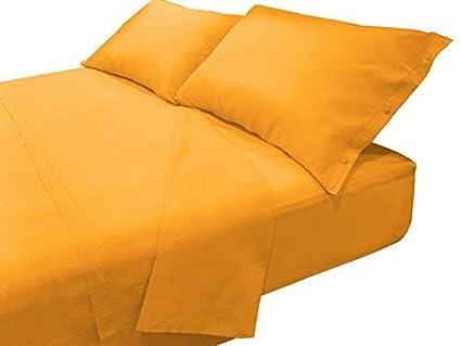 Letto Matrimoniale Giallo : Completo lenzuola ocra in 100% cotone per letto matrimoniale in