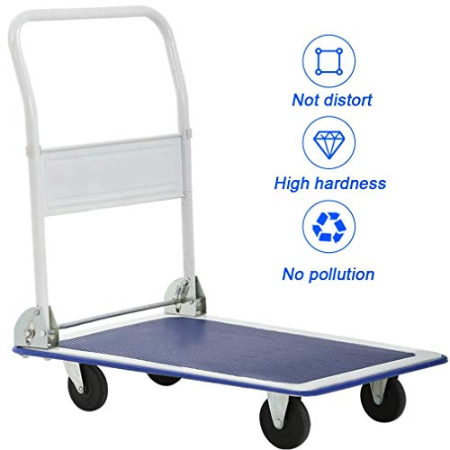- Platform Cart -[330Lbs] Dolly Folding Foldable Stainless Steel Cart Moving Warehouse Push Hand Truck Kitchen Bus Cart Food Cart Catering Rolling with Double Handle (19