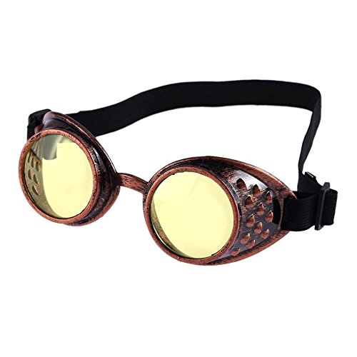 Steampunk Cheap Costumes (FTXJ Vintage Steampunk Goggles Welding Punk Plastic Cosplay Glasses)