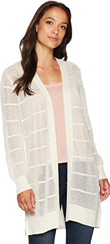 Calvin Klein Women's Long Sleeve Lurex Cardigan, Soft White, L by Calvin Klein