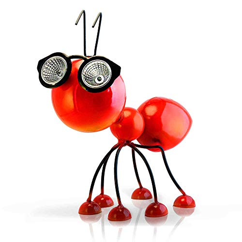 Smarty Gadgets - Metal Garden Art Decoration, Steel Red Ant Figurine with Solar Powered LED Lights for Yard, Patio, Lawn and Garden Decor and Ornament, Outdoor and Indoor Statue, 11