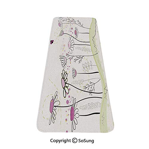 Nature Rug Runner,Flowerbed with Cute Spring Chamomiles Hand Drawn Girls Ladybug Print,for Living Room Bedroom Dining Room,4'x 2',Light Green Fuchsia White