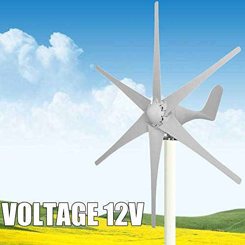 lOOkME-H Wind Turbine Windmill Generator Wind Energy Renewable Kit 6 Blades 500Watt 12V Marine, rv, Homes, Businesses and Industrial (White - 12V)