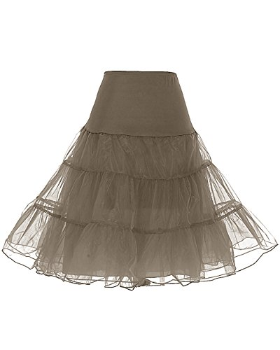Dresstells Women's Vintage Rockabilly Petticoat Skirt Tutu 1950s Underskirt Brown L