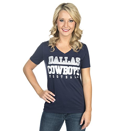 NFL Dallas Cowboys Womens Practice Glitter Tee, Navy, Small (Dallas Cowboys Merchandise Women)