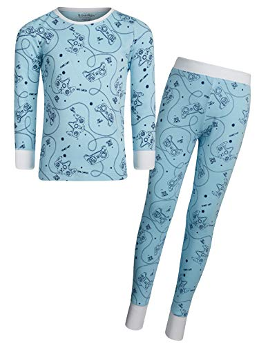 Kitestrings Boys' 2-Piece Snug Fit Pajama Set with Long Sleeve Top, Light Blue, Size 14/16'