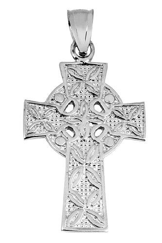 Petits Merveilles D'amour - 10 ct Or Blanc 471/1000 Croix Celtique irlandaise Pendentif