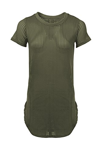 Staand Apparel Women's Cutout Grid Perforated Fabric Short Sleeve Tunic - Small ~ 3XL (3XL, Olive) (Roman Outfits For Womens)