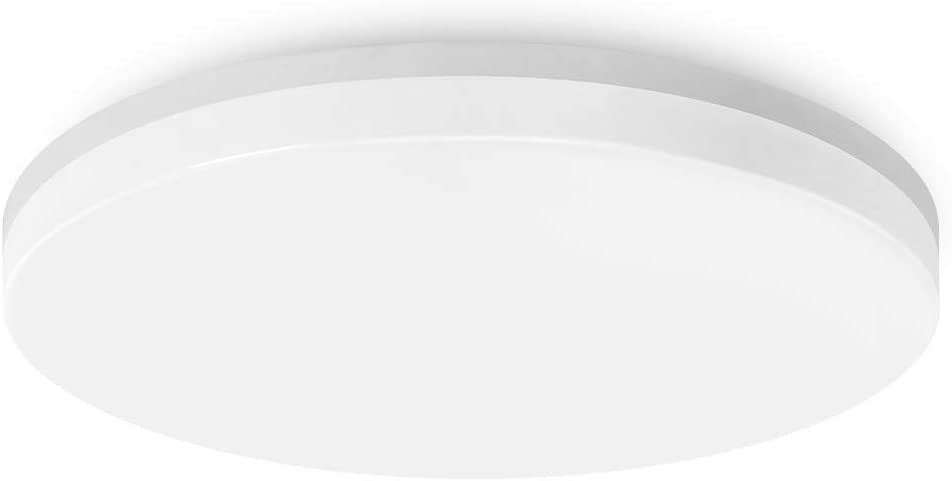 LVWIT Lámpara de Techo LED - 18W IP54 Impermeable, Plafón LED de 1700 lúmenes, Color blanco neutro 4000K, No regulable - Baño Cocina.