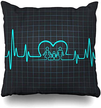 Ahawoso Throw Pillow Cover Hospital Blue Health Heartbeat Make Family Heart Care Insurance Healthy Medicine Life Design Doctor Decorative Pillowcase Square Size 18