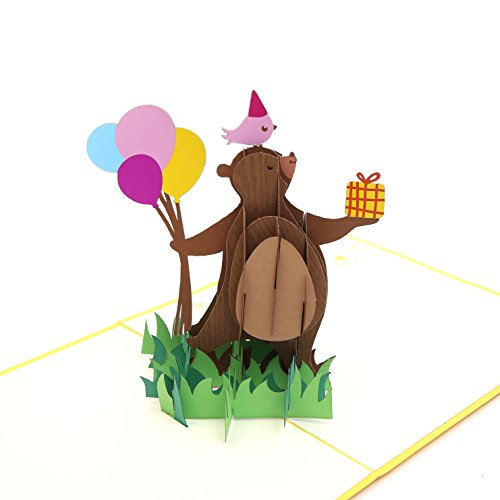 Liif Party Bear Pop Up Card, 3D Bear Pop Up Card, Pop Up Card For All Occasions, Birthday, Kids, Baby Shower, Newborn Announcement, Congratulations, Animal Lover, Handmade Gift ()