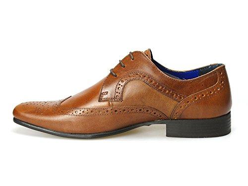 Rojo Funda de piel marrón de cinta de Louth para hombre zapatos de detalles perforados