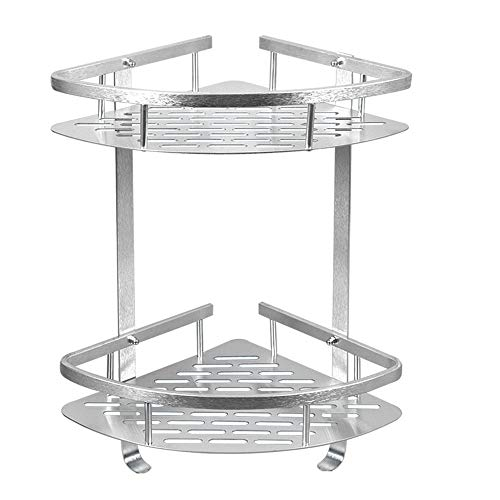 COAWG Bathroom Shelf, Aluminum Shower Corner Wall Mounted Shelf Basket, 12 Inch Triangle Space Saver Shelf Holder with 2 Hooks for Bathroom, Toilet, Hotel, kitchen - 2 Tiers