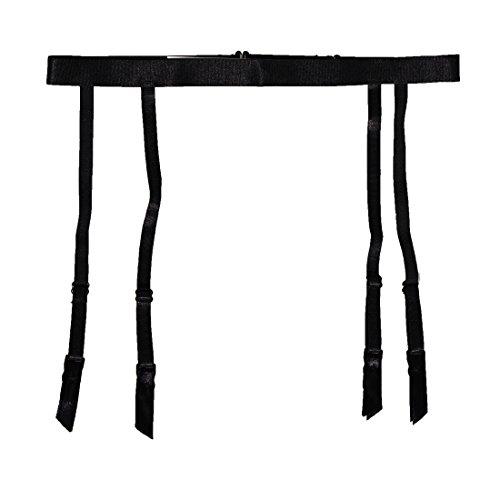TVRtyle Women Black Simplicity Elasticity 4 Straps Metal Clips Sexy Garter Belt For Stockings ()