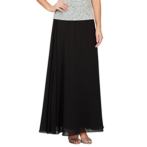 Alex Evenings Women's Chiffon Skirt Various Styles (Petite and Regular Sizes), Black Circle Skirt, (Chiffon Circle Skirt)