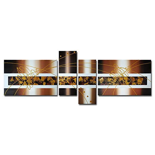 Wieco Art Brown Clouds Abstract Oil Paintings on Canvas Wall Art Decor Modern 4 Panels 100% Hand Painted Stretched and Framed Grace Artwork for Bedroom Kitchen Home Decorations 4pcs/Set