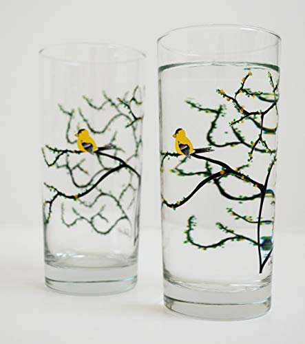 (Yellow Finch Glassware - Set of 2 Everyday Drinking Glasses, Golden Finch Glasses, Mother's Day Gift )