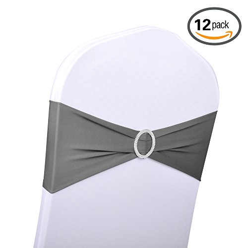 Emart 12pcs Polyester Spandex Banquet Wedding Party Chair Sashes Bows Elastic Chair Bands with Buckle Slider Sashes Bow (Dark (Chair Bows For Weddings)