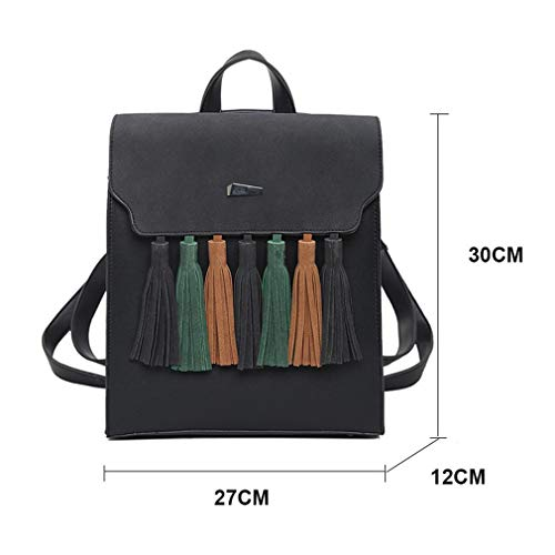 Leather Scrub School Brown Pu Shoulder Tassel Girls Women Bags Square Backpacks Fashion qpwI4ZxAE