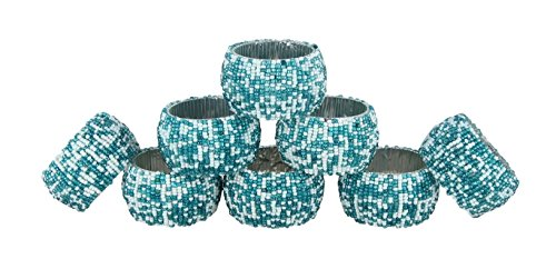 Shalinindia Handmade Beaded Napkin Rings Set With 8 Teal White Glass Beaded Napkin Holders – 1.5 Inch in Size – Artisan Crafted in India