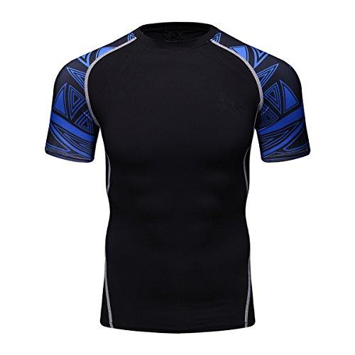 Fanii Quare Men's Lightweight Short Sleeve Cool Dry Rashguards Compression Sports Workout T-Shirt Black 10 XL
