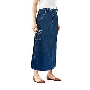 Women's Super Comfy Long Denim Maxi Skirt Size