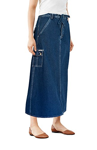 HyBrid & Company Womens Super Comfy Long Denim Maxi Skirt SK152333 Dark Wash 3
