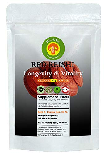 (Organic REISHI RED Mushroom Powder Extract: 50 g 100% USDA Fruiting Body. Small Batch, Produced Fresh. Potent Feel the Difference! Longevity $ Vitality Superfood, Adaptogen, Nootropic,)