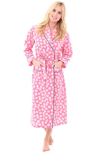 Alexander Del Rossa Womens Cotton Robe, Lightweight Woven Bathrobe, Large Sunflowers On Pink (A0515V60LG) - Summer Seersucker