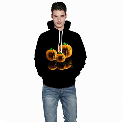 Jessie storee Helloween Hooded Sweatshirt 3D Printed Pumpkin Print Pullover Hoodie for Men Couples Unisex Horror Clothing Large Size Sweater Loose Baseball Uniform Tide,Black,M