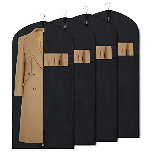 Syeeiex Garment Bag Suit Bags for Storage and Travel 60-inch Dust Cover Breatbable Garment Bags for Long Gowns Suits, Dresses Coats, Set of 4 ()