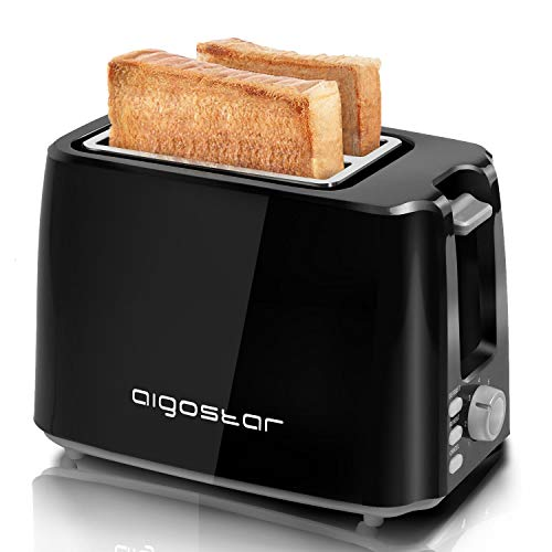 Aigostar Warrior 30KHK - 2-Slice Toaster, 750W, 7 Toast Shade Settings, Defrost, Reheat and Cancel Functions, Auto Shut-Off, Black, BPA Free. Exclusively Design.
