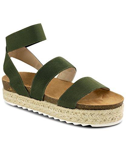 RF ROOM OF FASHION Women's Slide On Espadrille Platform Comfort Ankle Elastic Strap Footbed Wedge Sandal Shoes Olive (Green Wedge Platform)