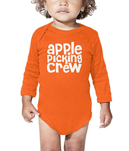 Apple Picking Crew - Orchard Autumn Long Sleeve Bodysuit (Orange, Newborn) ()