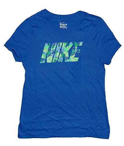 NIKE Girl's Graphic Tee Shirt Athletic Cut Medium Cotton Blue
