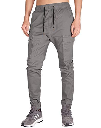 ITALY MORN Men's Jogger Cargo Pants Elastic Waist (Mid Grey, XL)