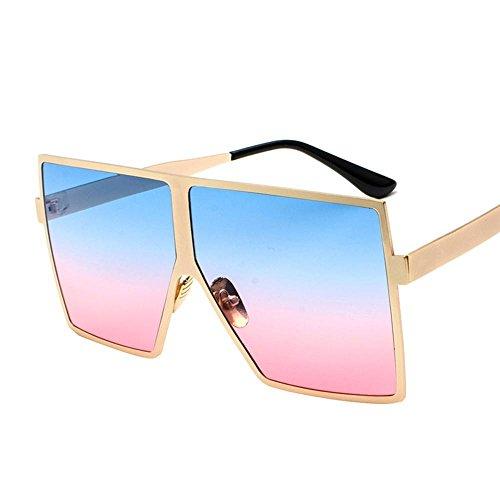 Aoligei Miroirs et verres de lunettes de soleil lunettes de soleil métal tendance lunettes de soleil rétro grand cadre C
