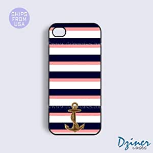 iPhone 5 5s Case - Blue White Pink Stripes Anchor iPhone Cover