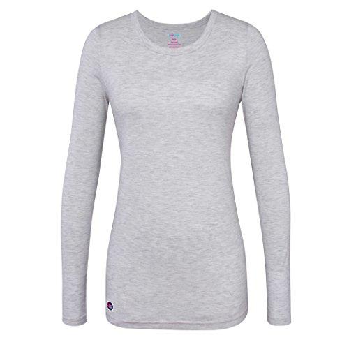 Sivvan Women's Comfort Long Sleeve T-Shirt / Underscrub Tee - S8500 - Marl Gray - XL (Cotton Coat Nursing)