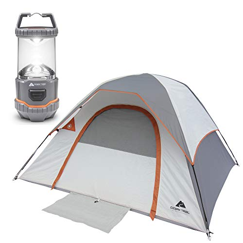 OZARK TRAIL 3-Person Camping Dome Tent Bundle Outdoor Equipment 200 Lumen Multi-Mode Camping Lantern
