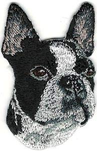VirVenture Black White Boxer Boston Terrier Portrait Embroidery Patch Great for Hats, Backpacks, and Jackets. ()