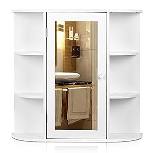 Homfa armario de pared con espejo armario de ba o 66 17 - Armarios bano amazon ...