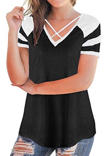 Shape Criss Cross Top (Anlarhh Women's Short Sleeve T-Shirt Splice Casual Front Cross V Neck Tunics Tees Tops Size XL Black)