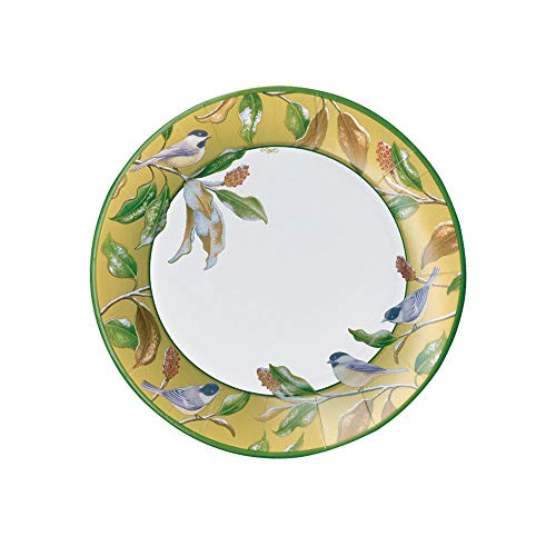 (Caspari Chickadee and Magnolia Paper Salad & Dessert Plates in Gold, Two Packs of 8)